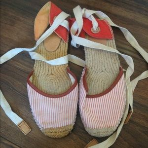 Joie Striped Lace Up Woven Flats